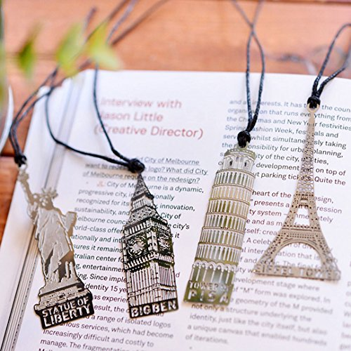 Aisi Vintage Retro Creativo Metallo Set 4 Segnalibro Bookmark Paris Torre Eiffel, Londra, New York Pizza Sottile Argento argento