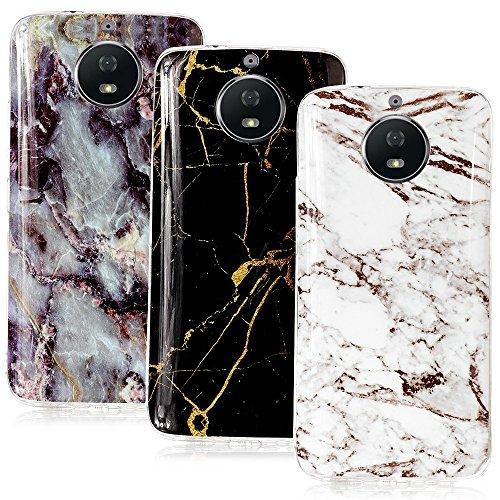 CLM-Tech 3 x Custodia per Motorola Moto G5S, Cover Silicone Gel Gomma, 3er Set TPU Case, Marmo Nero Bianco Multicolore