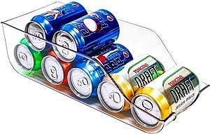SANNO Refrigerator Organizer Bins Pop Soda Can Dispenser Beverage Holder for Fridge, Freezer, Kitchen, Countertops, Cabinets - Clear Plastic Canned Food Pantry Storage Rack