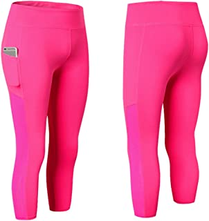 Rookay Capri Leggings with Pockets for Women Plus Size High Waist Tummy Control Yoga Tights