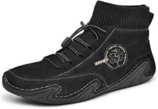 DOTU Mens Casual Shoes, Soft Non Slip Lace Up Driving Leather Shoes Casual Breathable Flexible Ankle Boots Durable Safety ...