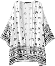 Sannysis Women Coat Elephant Printed Kimono Cardigan Tops Blouse Cover up