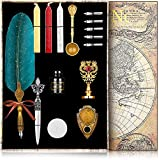 NC Feather Calligraphy Pen Ink Set,Quill Pen Set Includes Feather Dip Pen,Ink,5Replacement Nibs,3Wax Seal Sticks,Pen Holder,Seal Stamp, White Wax,Spoon,Envelope Letter Paper, Envelope Tool(Dark Green)