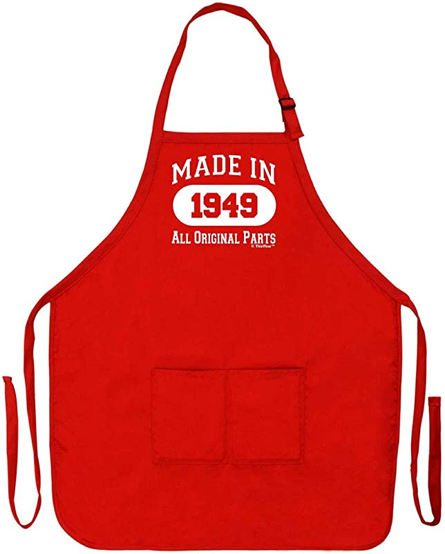 70th Birthday Gift Made In 1949 Funny Apron For Kitchen BBQ Barbecue Cooking Baking Crafting Gardening Two Pocket Apron Birthday Gifts Red