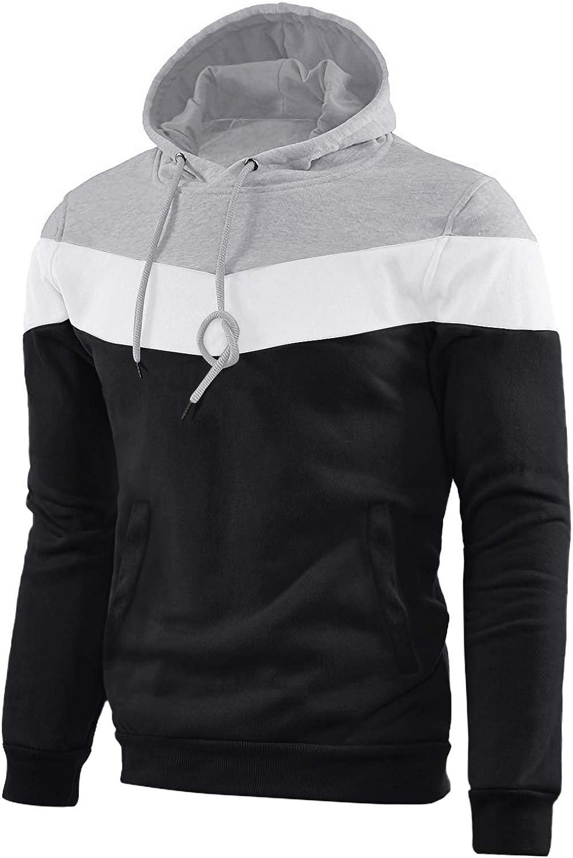 TOTNMC Men's Color Block Pullover Sweatshirt-Hoodie Casual Sport