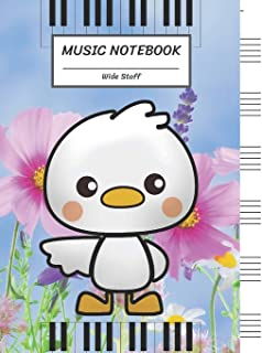 Music Notebook Wide Staff: Funny Cartoon Duck in The Flower Park,Piano Keyboard/Blank Music Sheet Notebook,Big Staff Pape...