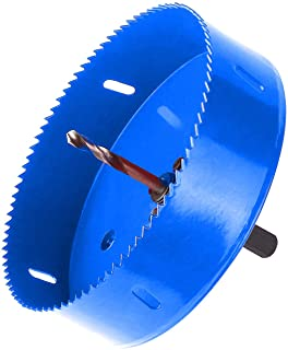 Best Hole Saw Blade with Heavy Duty Arbor for Cornhole Boards, Plywood, Iron board, Acrylic, Ducts, Ceiling lights, Cinder wall, High Speed Steel Blue 6 inch 152mm Review