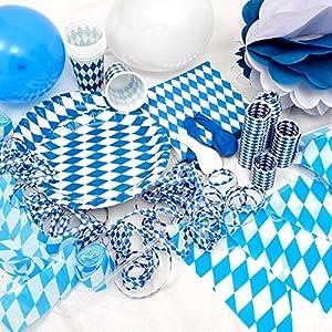 OKTOBERFEST – 65. tlg. Party Set Bavaria für 10 Personen im weiß blauen Rauten Design – Dekoration im bayrischen Stil