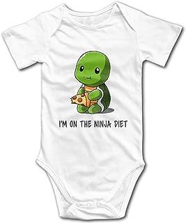 KNKN Turtles Ich Bin auf der Ninja Diät Strampler Neugeborene Bodysuit Baumwolle Jumpsuit T-Shirt für Baby Weiß
