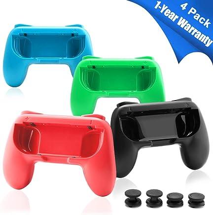 Rocketek Joy Con Grip for Nintendo Switch Controller -4 Packs, N-Switch Controller Grip with 4 Thumb Grip Caps (2 Normal+2 Extra Height) for Nintendo Switch Games |Nintendo Switch Accessories