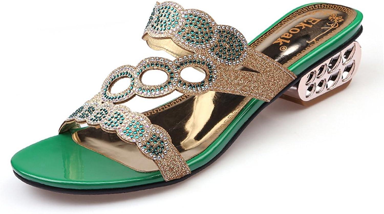 GenePeg Women's Medium Heels Sandals Rhinestone Cut-Outs shoes