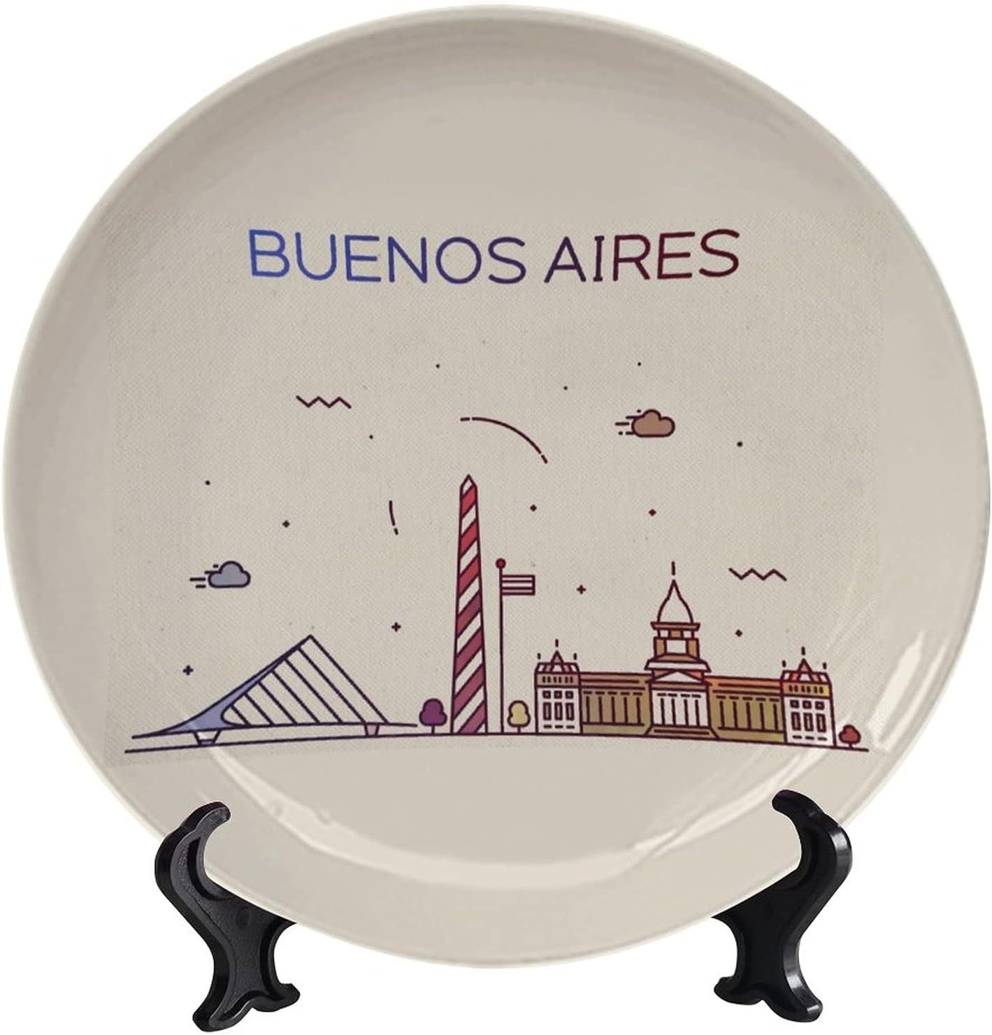 Lyzelre Decorative Ceramic Max 60% service OFF Plates Buenos Deco Aires Skyline City