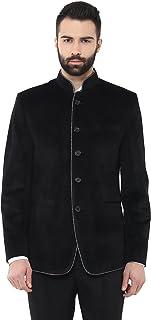 LUXURAZI Black High Neck Suede Festive/Wedding Wear Blazer