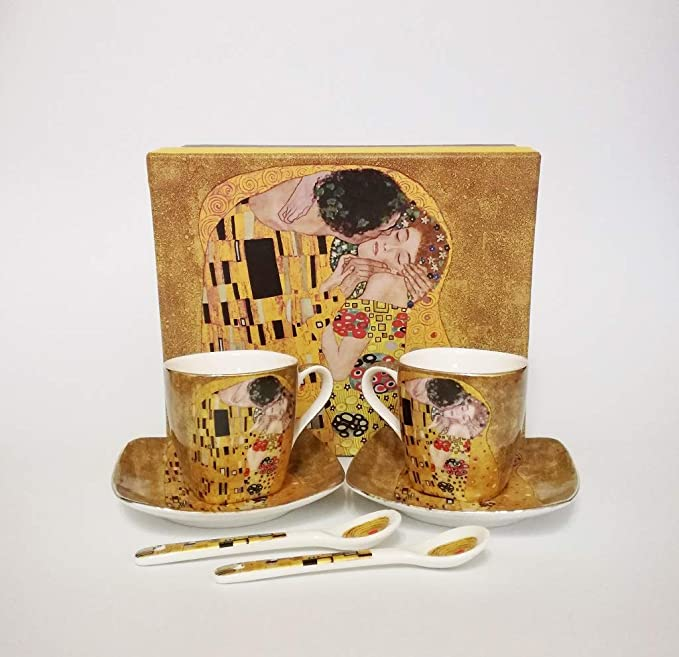 Gustav Klimt Glas Espresso Set Der Kuß The Kiss 1.Wahl Karton 80ml 12,5cm