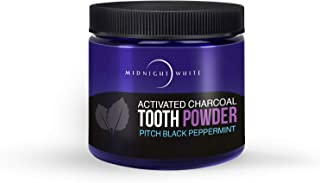Midnight White Natural Whitening Activated Coconut Charcoal Tooth Powder Peppermint 2 oz (56.6 grams)