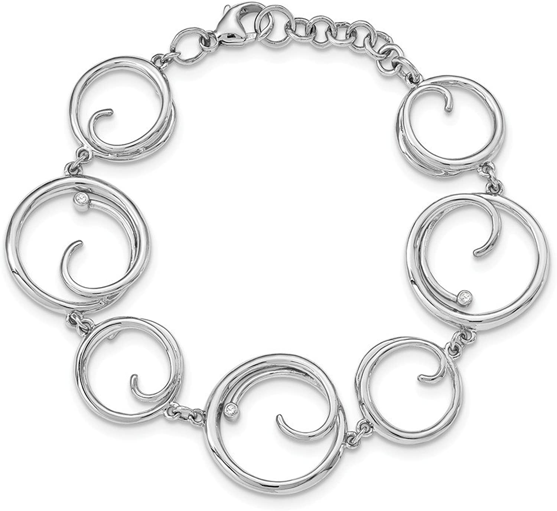 Beautiful Sterling silver 925 sterling Sterlingsilver SS White Ice .03ct. Diamond w 1in ext Bracelet