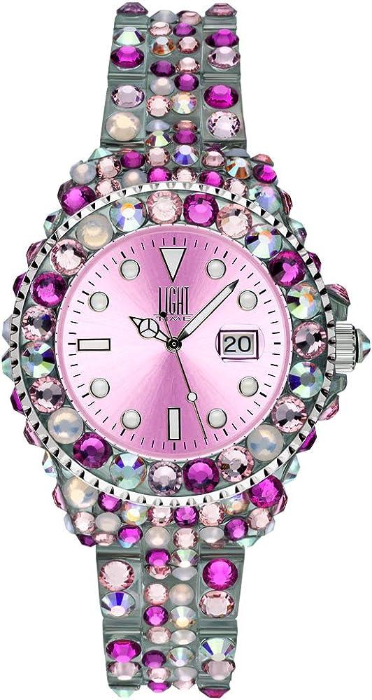 Light time mediterraneo, orologio per donna, in policarbonato con 300 cristalli preciosa L603F