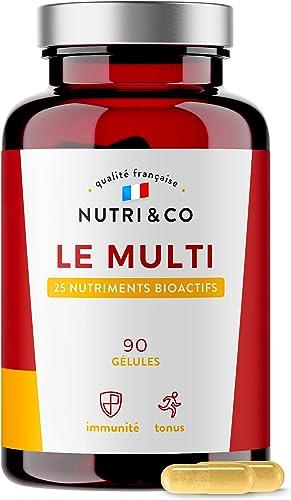 Multivitamines et Minéraux 25 Nutriments • Zinc, Vitamines A B C D3 E K2 Bio-actives & Minéraux Haute Absorption • Co...