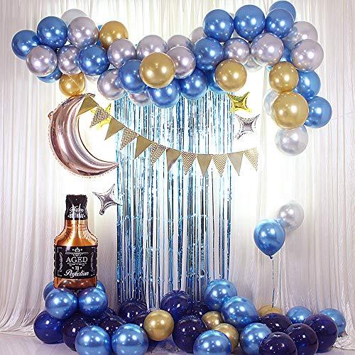 HItiejoy Juego de guirnalda de globos para fiestas de cumpleaños con forma de arco, botella de whisky, luna y estrella de aluminio, globos de látex azul plata y oro