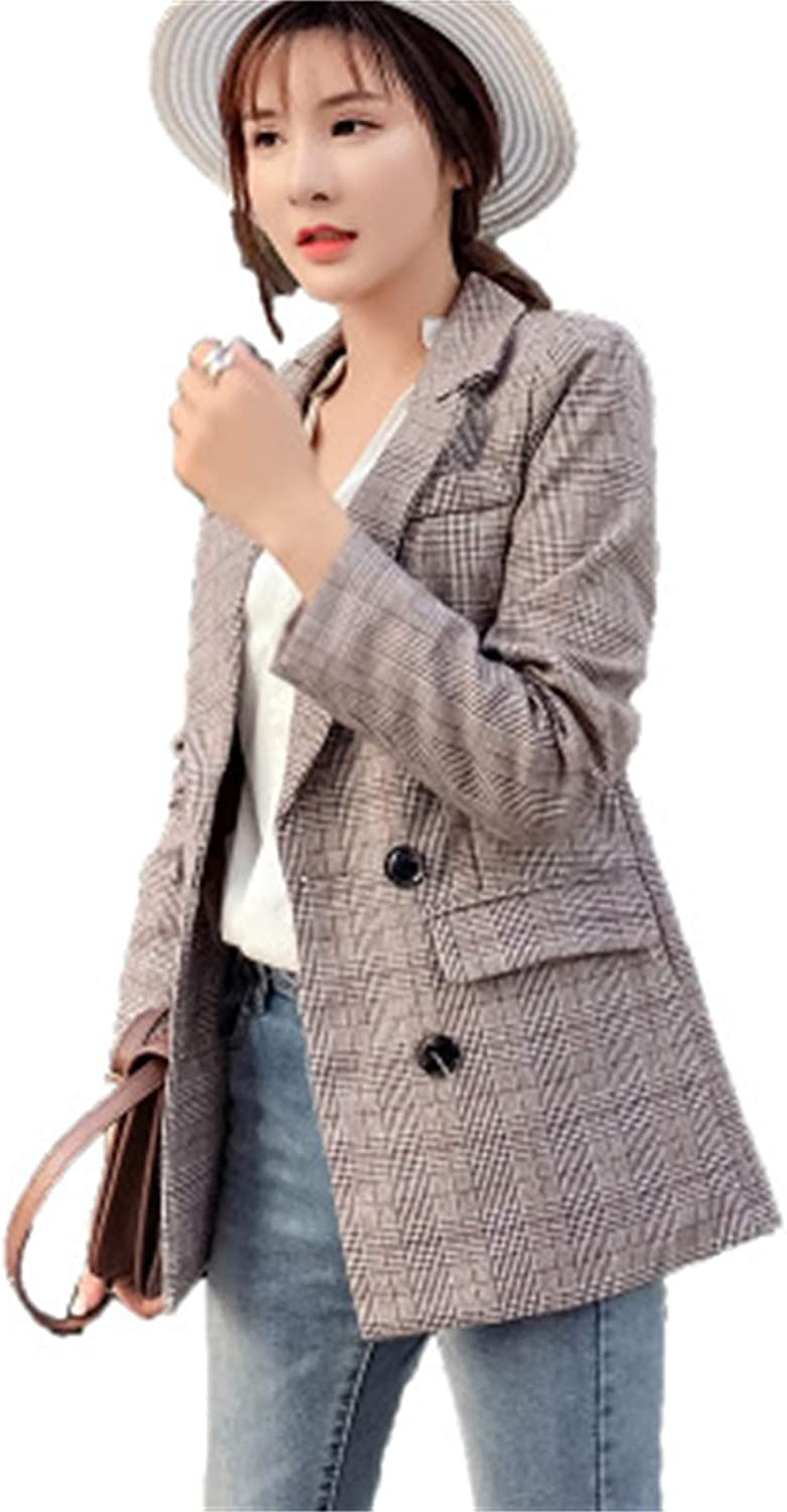 Elonglin Women's Vintage Style Checked Blazer Suit Ladies Casual Business Jacket
