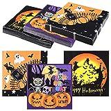 ASTARON 60 pezzi di tovaglioli di Halloween 13'× 13', tovaglioli di carta usa e getta per articoli per feste di Halloween, 3 disegni di tovaglioli a tema di Halloween