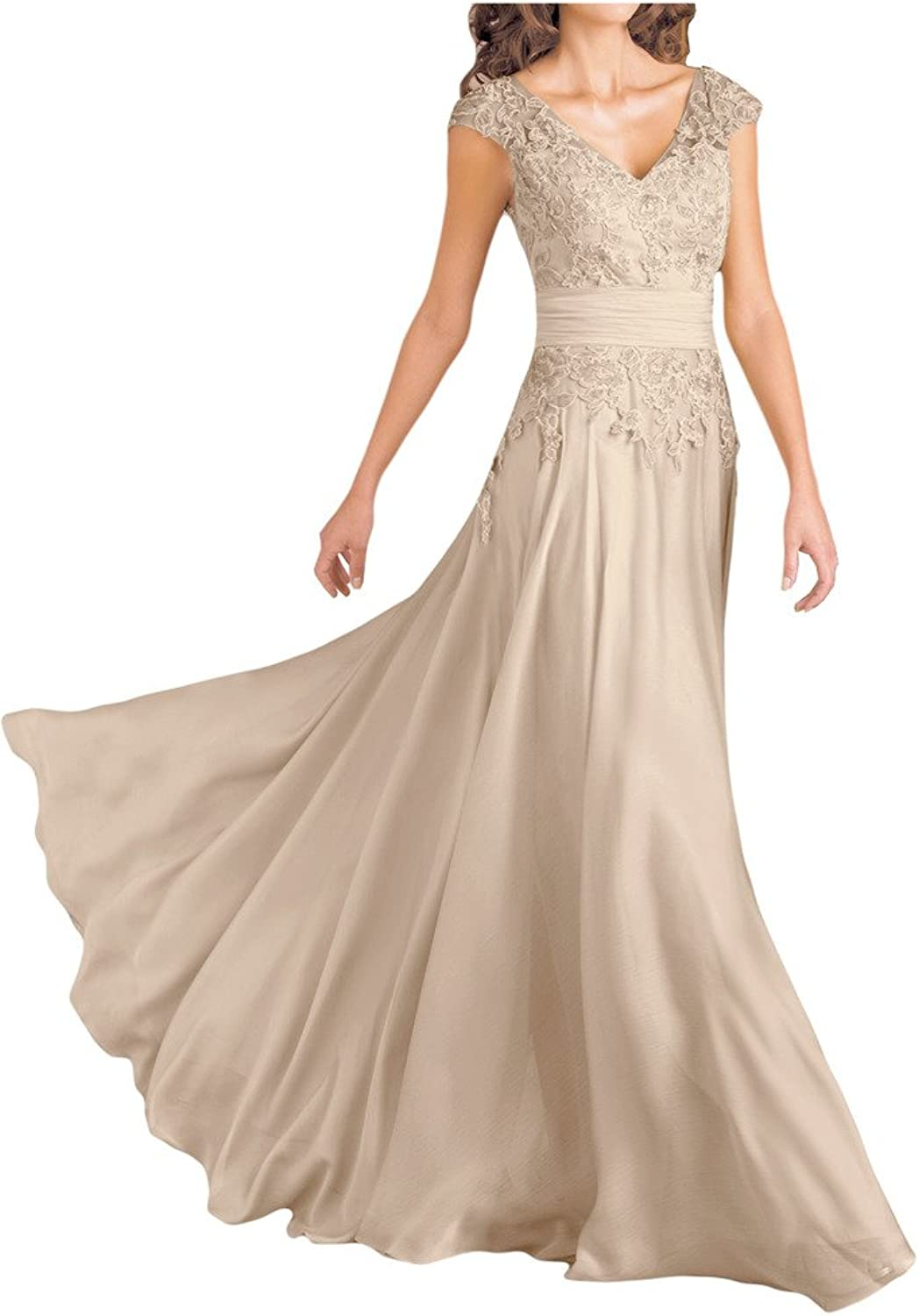 Angel Bride Appliqued VNeck Mother of the Bride Dresses Wedding Party Gowns