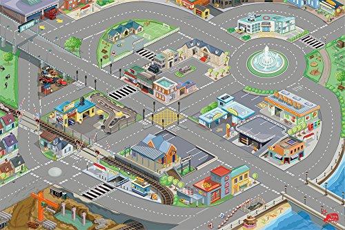 Le Toy Van – Autos & Baustelle-Spielset Straßen der Stadt für Kinder – Pädagogischer Spielteppich mit 3D-Design für Jungen | Größe: 120 x 80 cm, TV584