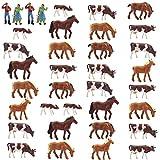 情景コレクション 牛模型 ウシ模型 人間 人形 人物 馬模型 ウマ模型 1:87 36本入り 養殖場 牧場 マイクロ風景 装飾 レイアウト・ジオラマ・教育・DIY