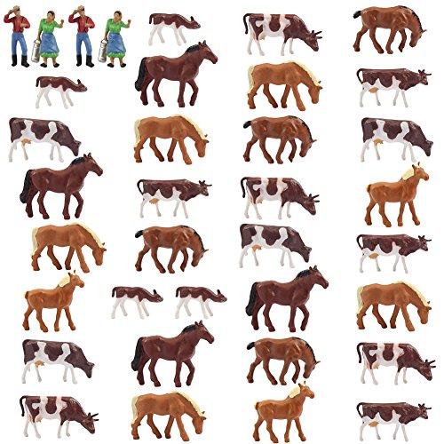 36Stk. Verschiede Rinder Kühe Pferde Figuren Bunt Tierfiguren Spur H0 1:87 Bauernhof Dekor modellbahn Landschaft miniaturfiguren