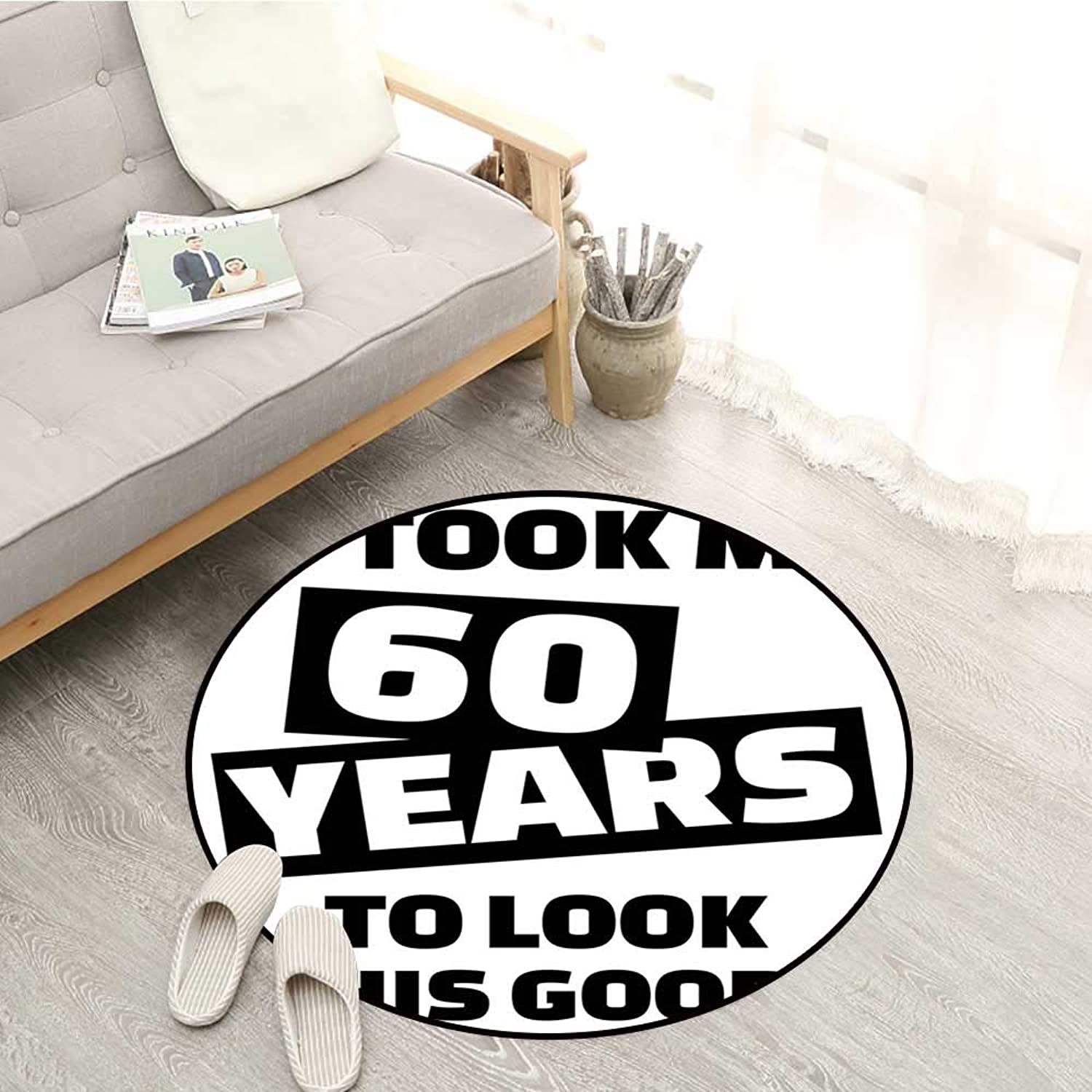 60th Birthday Skid-Resistant Rugs It Took Me 60 Years Party Quote Slogan Admiration Theme Monochrome Image Sofa Coffee Table Mat 3'11  Black and White