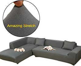 Taiyucover Anti-skid Dustproof Sofa Slipcovers ;Armchair/2-Seater/3-Seater sofa covers; Sectional Corner L-Shaped Sofa Protector (Grey, L-Shape(Large 3-Seater sofa + Large 3-Seater sofa))