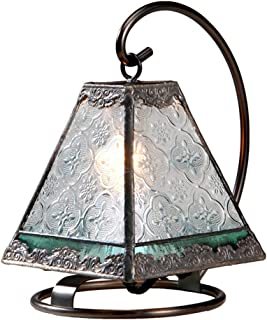 Small Lamp Tiffany Style Stained Glass Decorative Accent Night Light Table Top Vintage Home Décor Bedroom, Bathroom, Nursery Clear and Sage Green J Devlin Lam 559