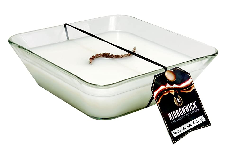 ルビー露骨な問い合わせRibbonWick WHITE SAND & SURF, Highly Scented Candle, Square Decor Glass, Large 20cm, 840ml