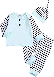 3 PCS Newborn Infant Baby Boys Clothes Set Striped Long Sleeve Top with Striped Pants Hat Outfits Set