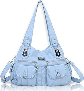 Angel Barcelo Women Top Handle Satchel Handbags Shoulder Bag Messenger Tote Washed Leather Purse