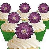 Cakeshop 12 x Vorgeschnittene und Essbare Lila Blumen Kuchen Topper (Tortenaufleger, Bedruckte Oblaten, Oblatenaufleger) -