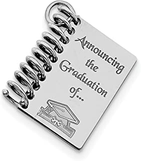Announcing The Graduation Of Words Spiral Graduation Book Charm In 925 Sterling Silver 28x26mm