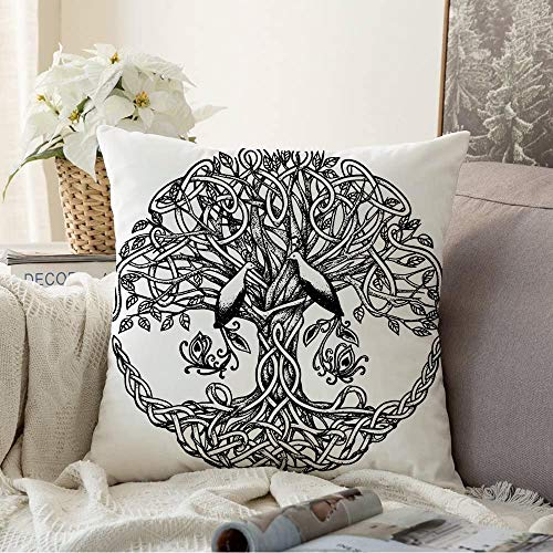 Throw Pillow Covers for Couch Sofa Bedding Celtic Node Style with Tree Line Birds Dotwork Paradise Graphic Macrame Black Nature Signs Symbols Decorative Pillows Cushion Case 18x18 Inch