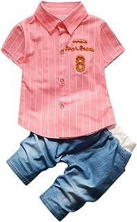 Mbby Bambino Camicia Manica Corta A Righe con Scritte Pantaloncini di Jean Tuta Maschio Bimbo 0-4 Anni Completo Bambini Estate 2 Pezzi Set Tute Cotone Ragazzo Neonato