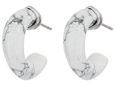Kendra Scott Mikki Huggie Earrings (Rhodium White Howlite) Earring