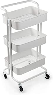 Display4top 3 Tier Rolling Metal Shelving Utility Storage Cart with Wheels, Organizer Trolley,Suitable for Office,Warehouse,Home Kitchen or Outdoor (White)