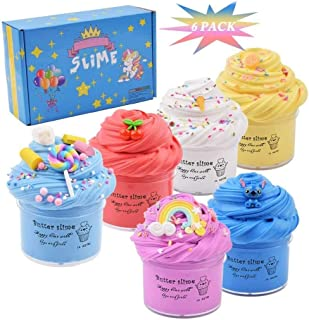 Cutiecute 6 Pack Butter Slime Kit,Super Soft & Non-Sticky, Stress Relief Toy Scented Sludge Toy for Kids Education, Party ...
