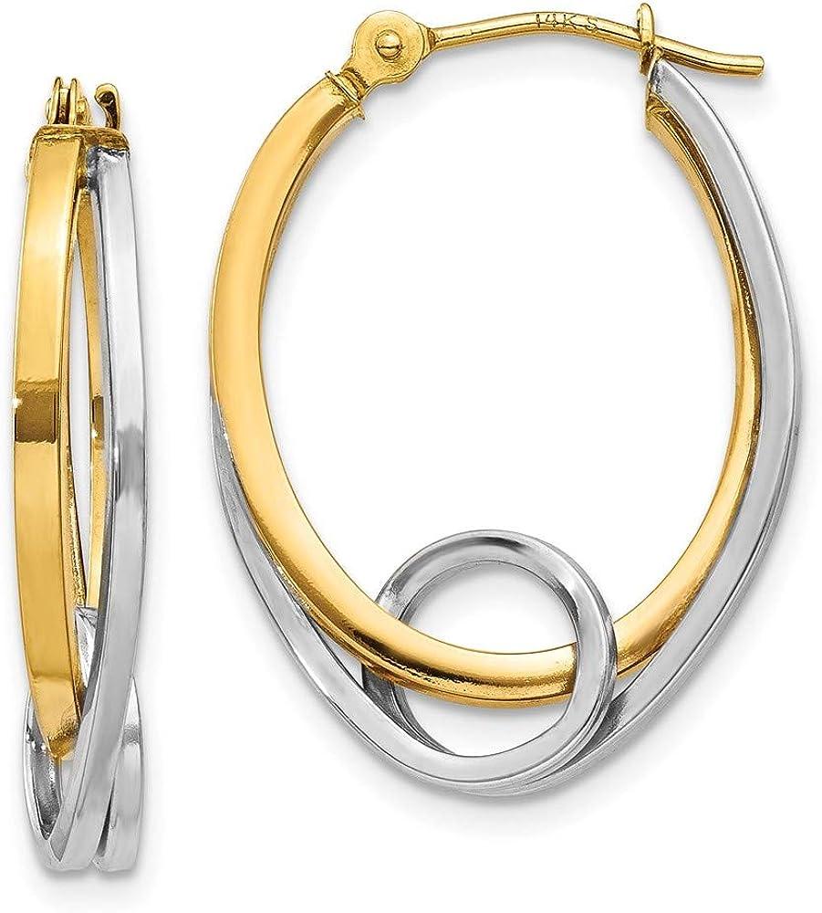 14k Two Tone Yellow Gold Oval Loop Hoop Earrings Ear Hoops Set Fine Jewelry For Women Gifts For Her