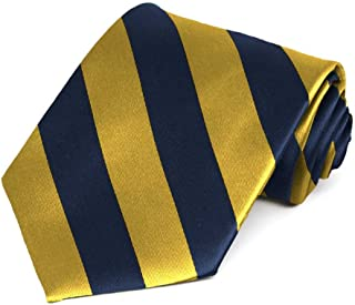 Navy Blue and Gold Striped Tie