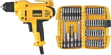 DEWALT DWD115K 8 Amp 3/8-Inch VSR Mid-Handle Grip Drill Kit with Keyless Chuck with DEWALT DW2166 45 Piece Screwdriving Se...