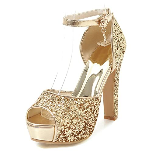 c9929973e8cb Aisun Women s Platform Sandals with Ankle Strap - Peep Toe Buckled High Heel  - Chunky Glitter