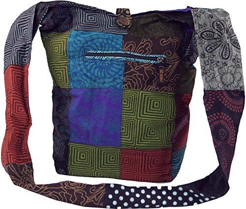 GURU SHOP Sadhu Bag, Schulterbeutel Patchwork, Nepalbeutel, Goatasche, Herren/Damen, Mehrfarbig, Baumwolle, Size:One Size, 40x35x14 cm, Bunter Stoffbeutel