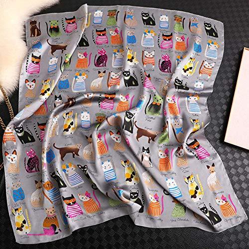 TLXOZ Bufanda Cuadrada De Moda para Mujer Bufanda Y Abrigo De Seda con Estampado De Gato Foulard De Cuello De Oficina Retro para Mujer