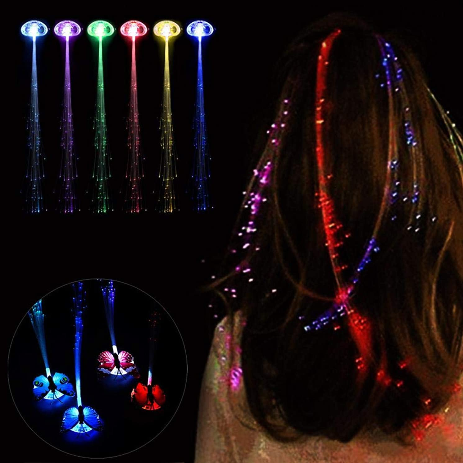 Gotian Butterfly LED Clip Hairpin Wigs Glowing Flash Ligth Hair Braid Christmas Birthday Toy