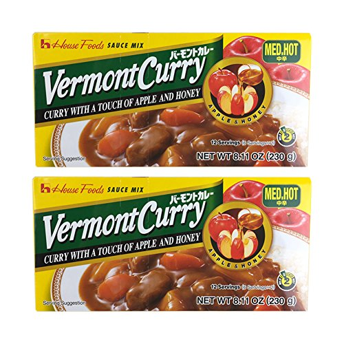 House Foods Vermont Curry [ 2 Packs ] Medium Hot 8.11 Oz (230g)